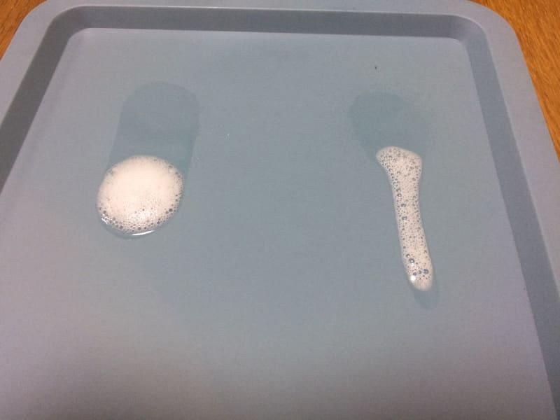 ウタマロクリーナーとマイペットの液だれ比較